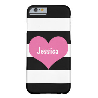Pink Heart on Black White Stripes 6 Case
