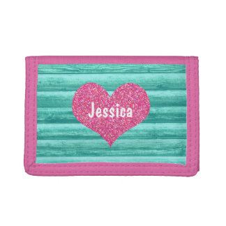 Pink Heart on Teal Turquoise Wood Girly Name Tri-fold Wallet