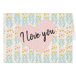 Pink Heart on Vintage Pink and Aqua Floral Pattern Card