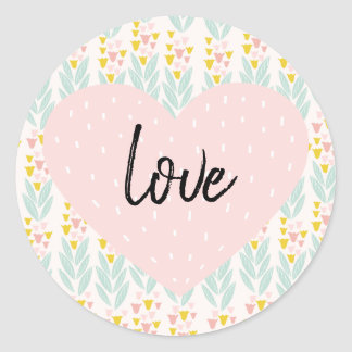 Pink Heart on Vintage Pink and Aqua Floral Pattern Classic Round Sticker