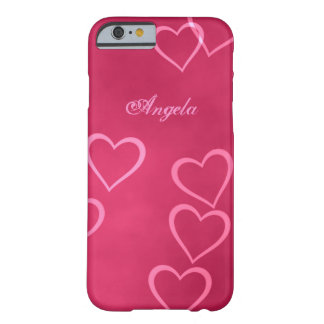 Pink heart outlines barely there iPhone 6 case