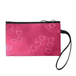 Pink heart outlines coin purse