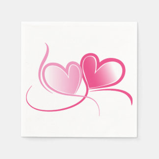 Pink Heart Paper Napkins