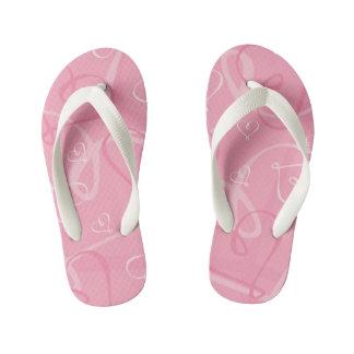 Pink heart pattern kid's flip flops
