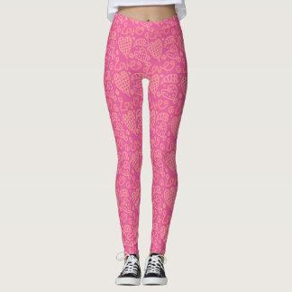 Pink Heart Pattern Leggings