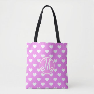 Pink Heart Pattern Monogram Tote Bag