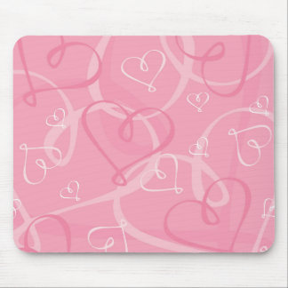 Pink heart pattern mouse pad