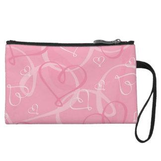Pink heart pattern wristlet clutches