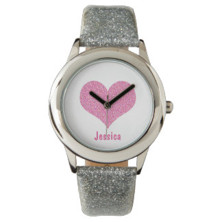 Pink Heart - Personalized Girly Name Watch