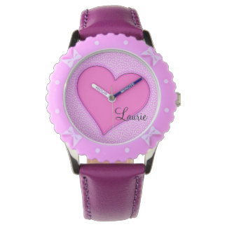 Pink Heart Personalized Watch
