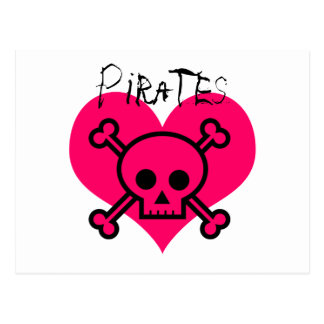 Pink Heart Pirates Post Cards
