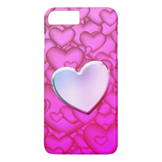 Pink heart rain. Only Heart is valuable Body Part iPhone 8 Plus/7 Plus Case