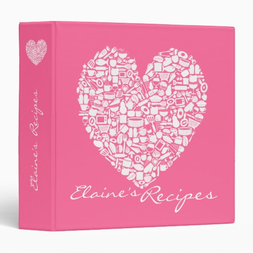 Pink Heart Recipe Kitchen Personalized Name Binder