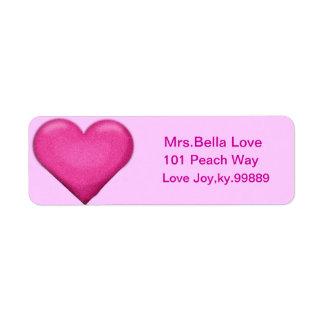 Pink Heart Return address Lables
