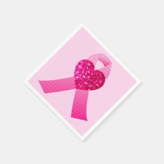 Pink Heart Ribbon Breast Cancer Awareness Paper Napkin