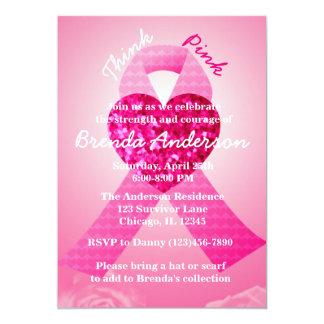 "Pink Heart Ribbon Breast Cancer Awareness Party 5"" X 7"" Invitation Card"