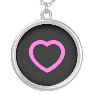 Pink heart round pendant necklace
