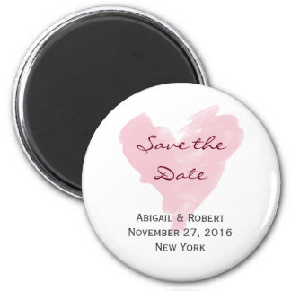 Pink heart Save the Date magnet