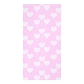 Pink Heart Shaped Balloons Pattern. Photo Greeting Card