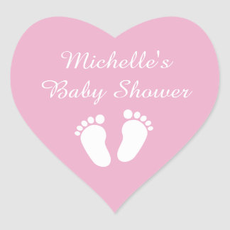 Pink heart shaped footprints baby shower stickers