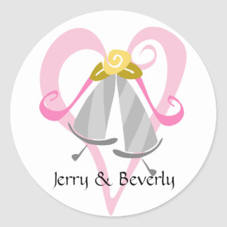 Pink Heart & Silver Bells Stickers