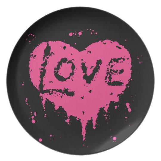 Pink heart splatters plate