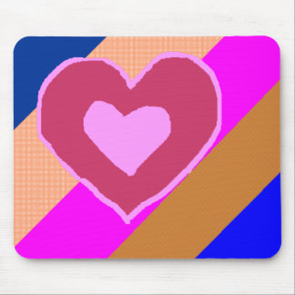 Pink Heart Stripes Mouse Pad