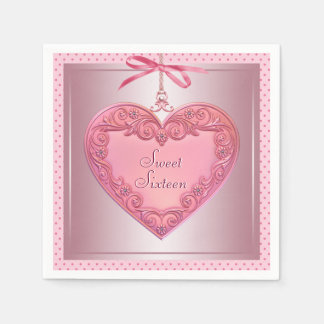 Pink Heart Sweet 16 Birthday Party Napkins Disposable Napkin