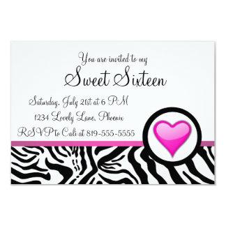 "Pink Heart Sweet Sixteen 3.5"" X 5"" Invitation Card"