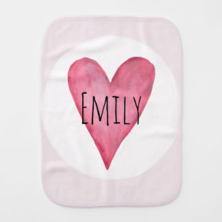 Pink Heart Typography Baby Love with Name Burp Cloth