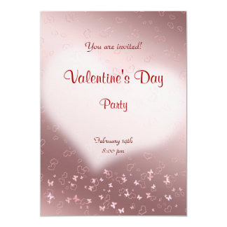 Pink  heart Valentine's Day Party Card