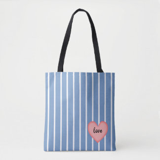 Pink Heart w/Blue Stripes Tote Bag