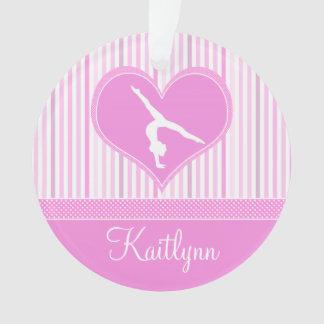 Pink Heart w/ White Stripes and Polka-Dot Gymnast Ornament