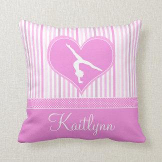 Pink Heart w/ White Stripes and Polka-Dots Gymnast Throw Pillows