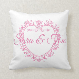 Pink Heart Wedding/Engagement Personnalised Throw Pillow
