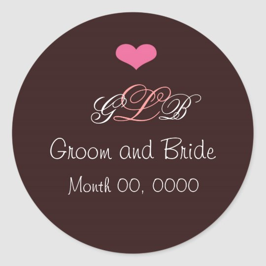 Pink Heart Wedding Monogram Sticker