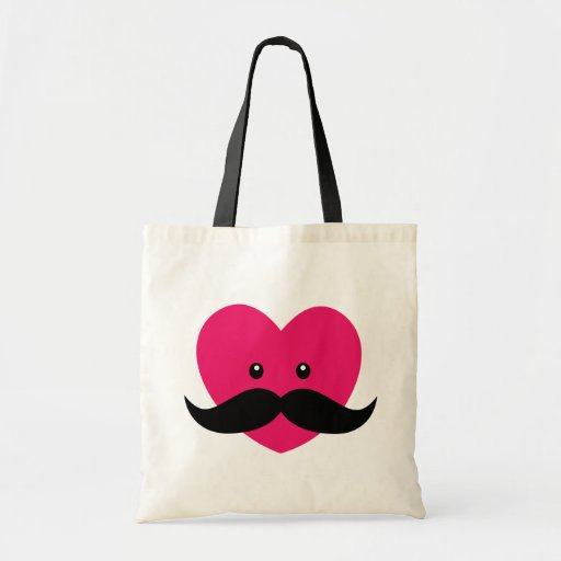 Pink heart with a mustache bags
