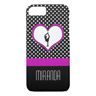Pink Heart with Classy Polka-Dots Figure Skating iPhone 7 Case