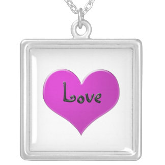 """Pink heart with """"Love"""" in shiny black Square Pendant Necklace"""