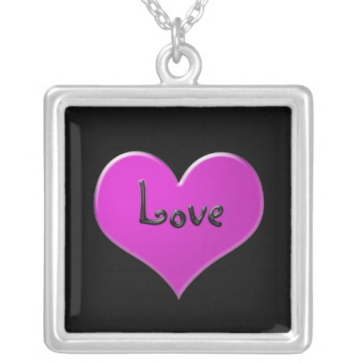 """Pink heart with """"Love"""" in shiny black Personalized Necklace"""