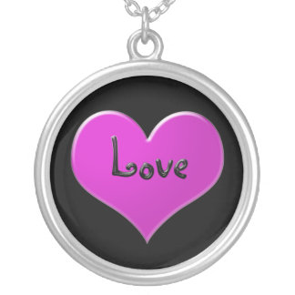 """Pink heart with """"Love"""" in shiny black Round Pendant Necklace"""