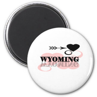 Pink Heart Wyoming Magnet