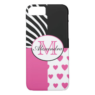 Pink Hearts and Black Zebra Stripes Monogram iPhone 8/7 Case