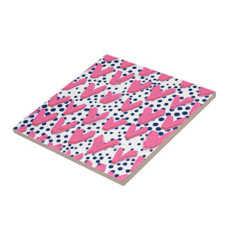 Pink hearts and blue dotted ceramic tiles