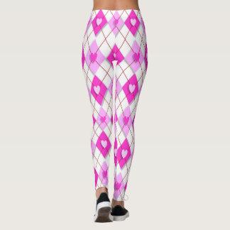 Pink Hearts and Diamonds Argyle Pattern Leggings