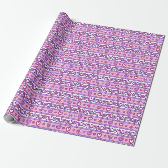 Pink hearts and flower doodle drawing stripe wrap