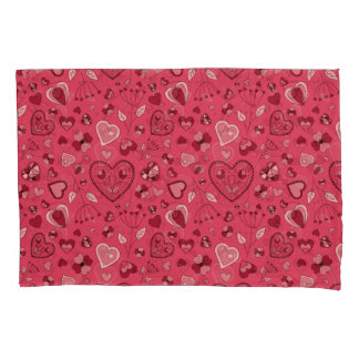 Pink hearts and flowers Custom Pair of Pillowcases