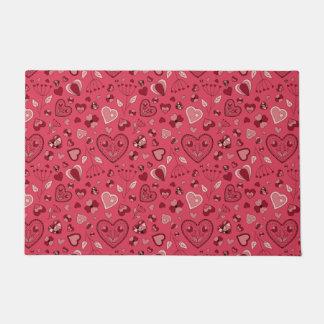 Pink hearts and flowers Door Mat