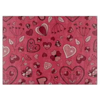 Pink hearts and flowers Glass Cutting Board