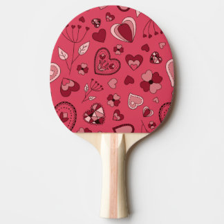 Pink hearts and flowers Ping Pong Paddle